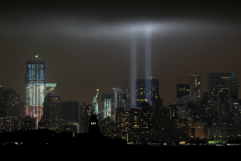 """<p>The annual """"Tribute in Light"""" memorial echoing the twin towers of the World Trade Center illuminates the night sky during the 10th Anniversary of the September 11, 2001 attacks.</p>"""