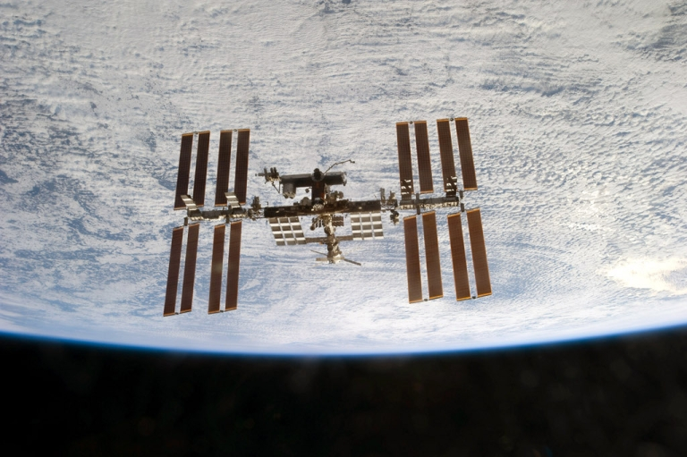 <p>The International Space Station is seen from the space shuttle Discovery as the two orbital spacecraft accomplish their relative separation after an aggregate of 12 astronauts and cosmonauts worked together for over a week during flight day 12 activities March 7, 2011 in Space.</p>