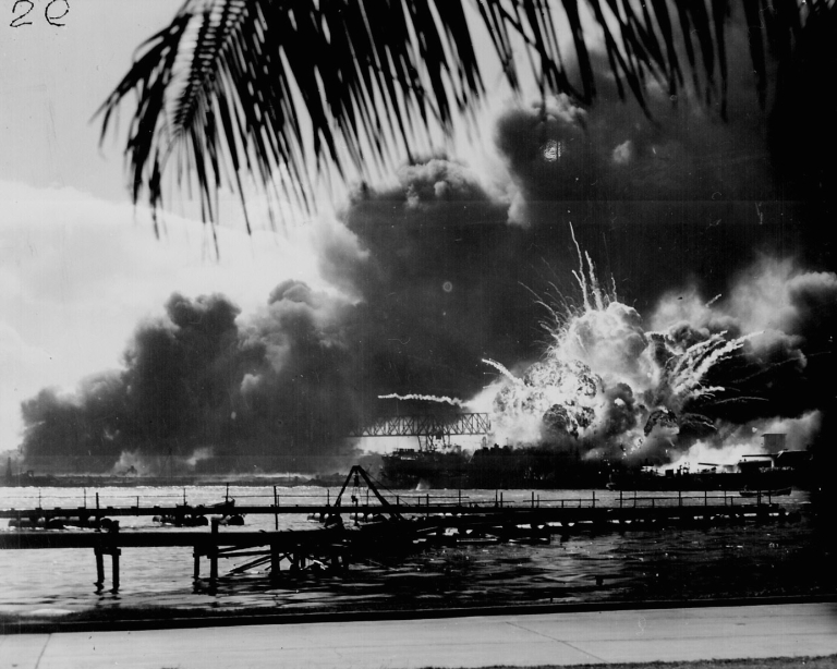 <p>USS SHAW exploding during the Japanese raid on Pearl Harbor.