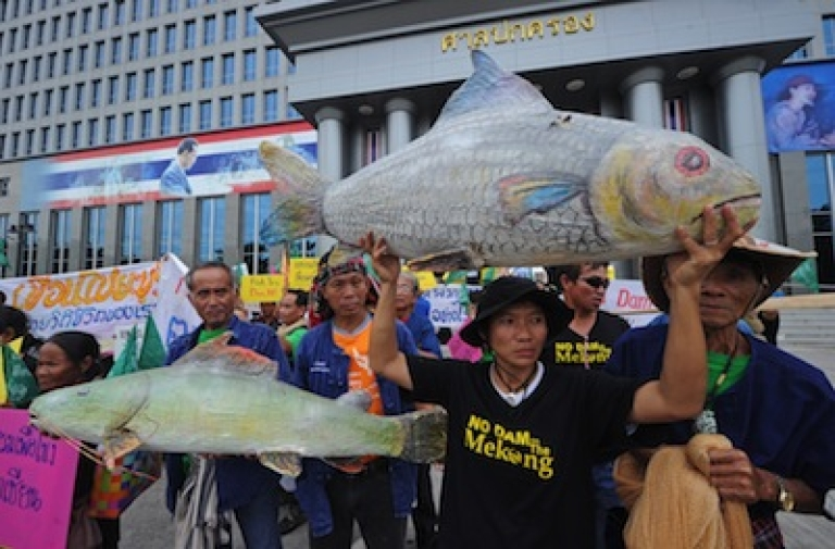 <p>Thai villagers affected by the construction of the Xayaburi dam in Laos hold models of fish in front of the administrative court in Bangkok on August 7, 2012.</p>