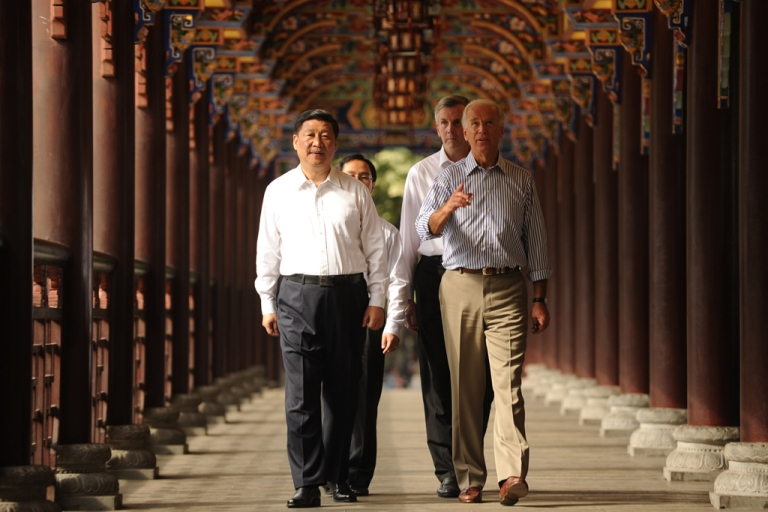 <p>Now China's President, Xi Jinping, sports uncharacteristically casual attire with US Vice President Joe Biden back in 2011.</p>
