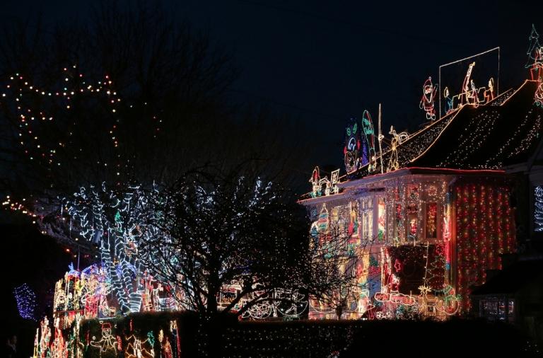 <p>Christmas festive lights adorn a semi-detached house in a suburban street in Melksham, December 8, 2012 in Melksham, England.</p>