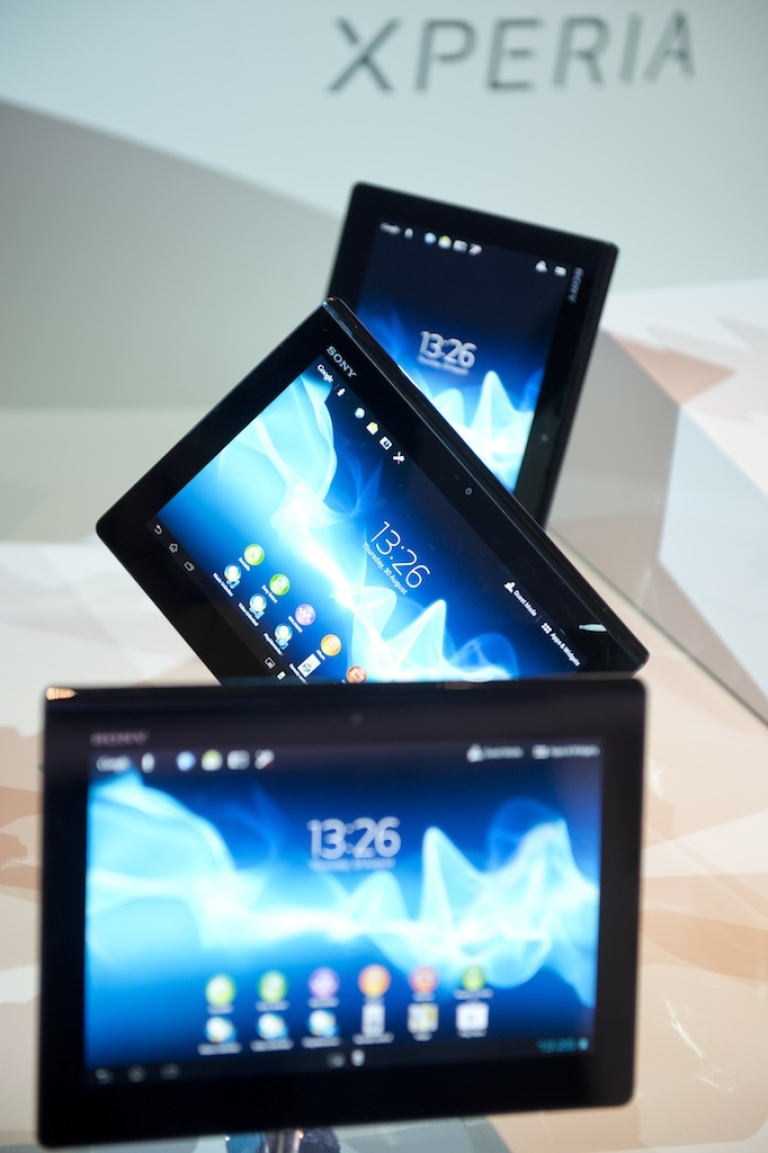 <p>Xperia tablets are seen at the Sony booth during the 52nd edition of the 'IFA' (Internationale Funkausstellung) trade fair in Berlin on August 30, 2012. The company has pulled the tablets off the market due to a manufacturing defect.</p>