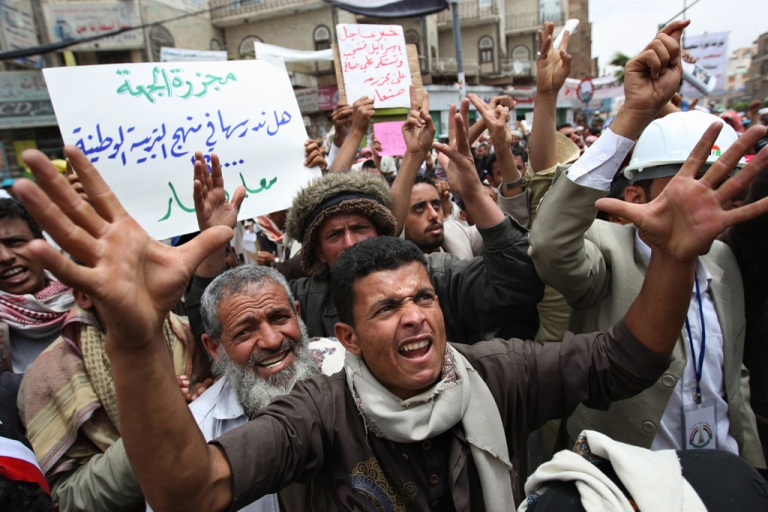 <p>Yemeni anti-government protesters chant slogans against President Ali Abdullah Saleh during a demonstration in Sanaa on March 19, 2011 as thousands rallied despite a state of emergency imposed by the autocratic regime.</p>