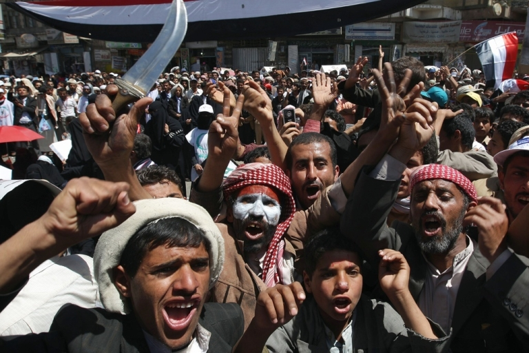 <p>Yemeni protesters demonstrate for the ouster of President Ali Abdullah Saleh during a massive anti-regime rally in Sanaa on March 2, 2011.</p>