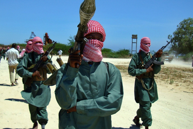 <p>Islamist fighters from the hard-line Shabab movement taking part in a military drill at a camp in the nothern outskirts of Mogadishu. Rumours persist that Somali mercenaries are involved in the fighting in Yemen.</p>