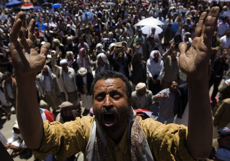 <p>Anti-government Yemenis demonstrate in Sanaa on March 11, 2011.</p>