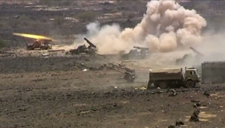 <p>An image grab taken from AFP TV shows Yemeni army forces shelling Al-Qaeda targets in the southern Abyan province on June 12, 2012. The Yemeni army seized the Al-Qaeda strongholds of Jaar and Zinjibar, officials said, more than a year after the jihadists captured most of Abyan province.</p>