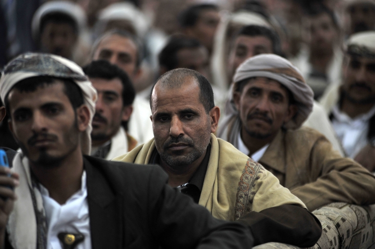 <p>Members of the newly established Shiite al-Omma party attend the party's first congress in Sanaa on January 5, 2012.</p>