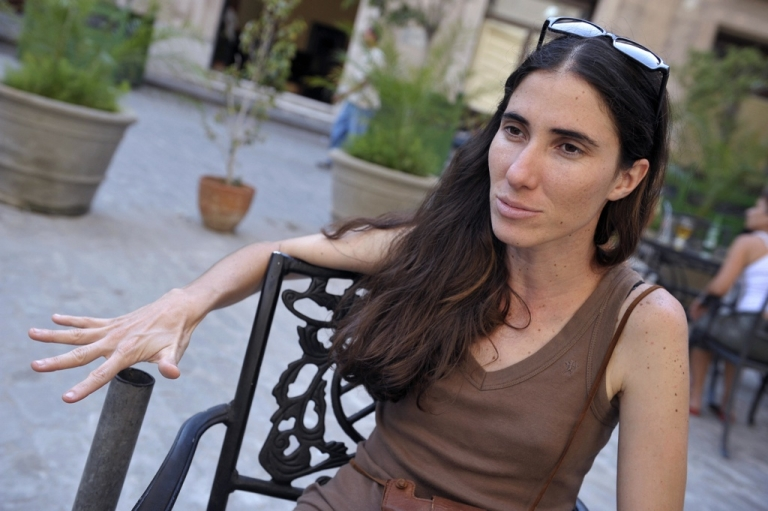 <p>Cuban blogger Yoani Sanchez during an interview with news wire AFP in Havana, on May 6, 2008.</p>