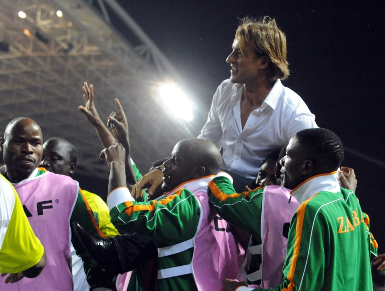 <p>Zambian national team coach Herve Renard is carried by players and officials of the team to celebrate their victory over Ivory Coast at the Africa Cup of Nations (CAN) final football between the two teams at stade de l'Amitie in Libreville, Gabon on February 12, 2012.</p>