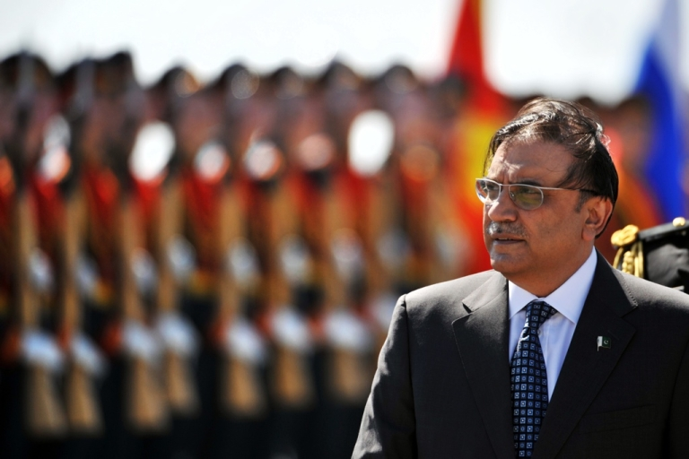 <p>Pakistani President Azif Ali Zardari in Moscow on May 11, 2011.</p>