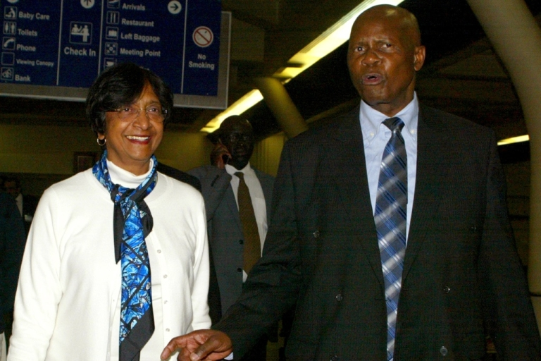 <p>The UN High Commissioner for Human Rights Navi Pillay, left, is welcomed by Zimbabwe Justice Minister Patrick Chinamasa upon arrival in Harare on May 20, 2012 for a five day visit to asses the human rights situation in Zimbabwe.</p>