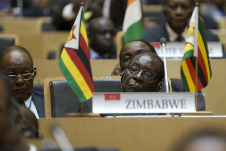 <p>Zimbabwe's President Robert Mugabe attends the inauguration of the high-rise African Union headquarters in Addis Ababa, built and donated by China at a cost of $200 million, on January 28, 2012. The building, which towers above the Ethiopian capital, was opened ahead of the start of the pan-African body's 18th ordinary summit, a bold symbol of China's rapidly changing role in Africa.</p>