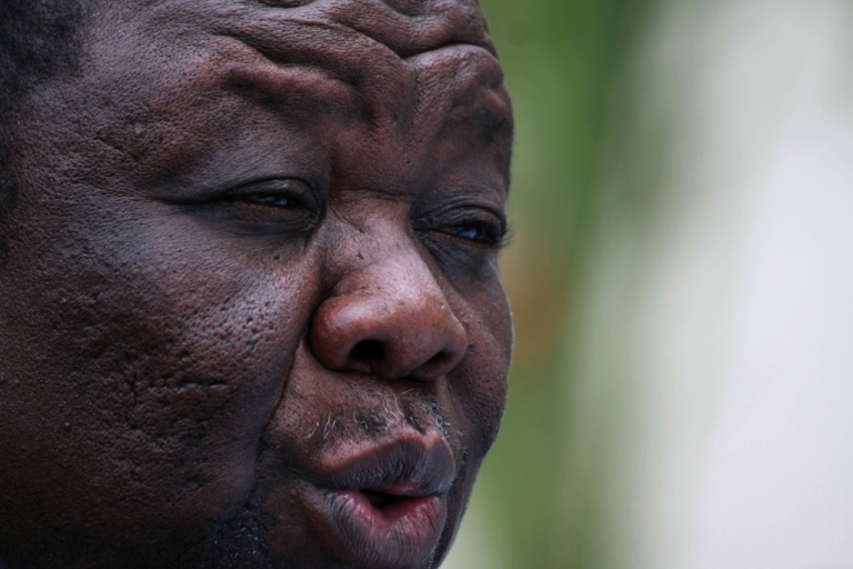 <p>Zimbabwe Prime Minister Morgan Tsvangirai speaks during a press conference in Harare on March 2, 2011.</p>
