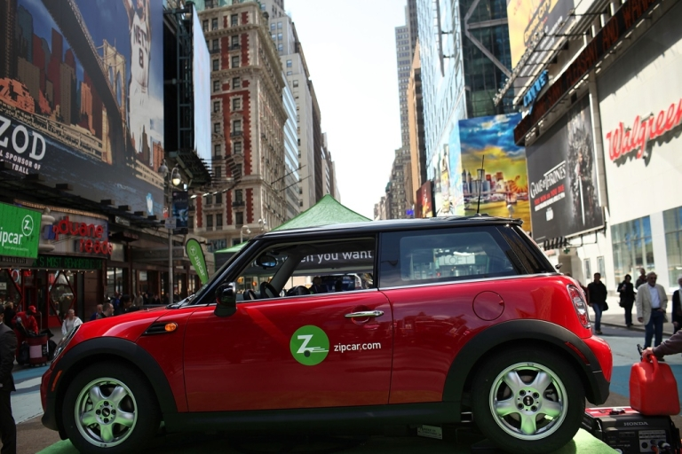 <p>A Zipcar is displayed during a promotion of the short term car rental company on April 14, 2011 in Times Square in New York City.</p>