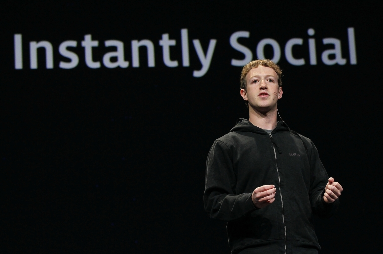 <p>Facebook founder and CEO Mark Zuckerberg delivers the opening keynote address at the f8 Developer Conference April 21, 2010 in San Francisco, California.</p>